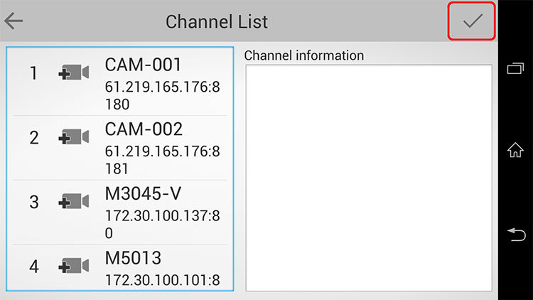 iGuard2(Android) 無事NVRへ接続が完了すると、NVRに繋がっているカメラ一覧が確認できるようになります。
