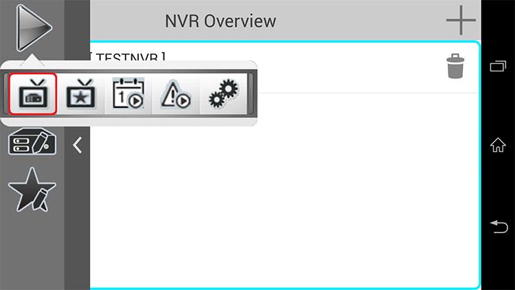 iGuard2(Android) メニューの中の再生を選択し、印のついたアイコンをタップします。